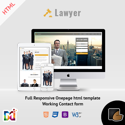 Corporate And Law Firm – One Page Responsive HTML Template
