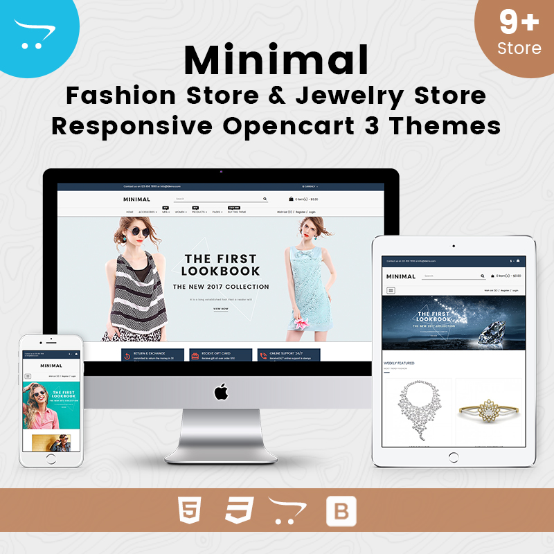 Minimal Fashion Store & Jewelry Store Responsive OpenCart 3 Theme