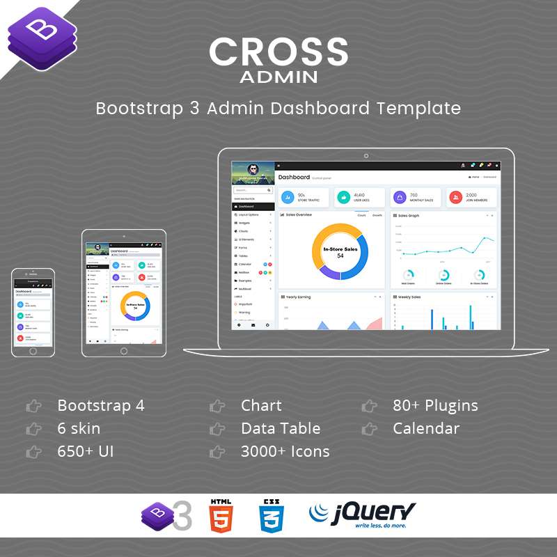 Cross Multipurpose Responsive Bootstrap Admin Templates