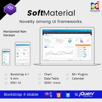 Soft Material Bootstrap Admin Templates With Admin Panel