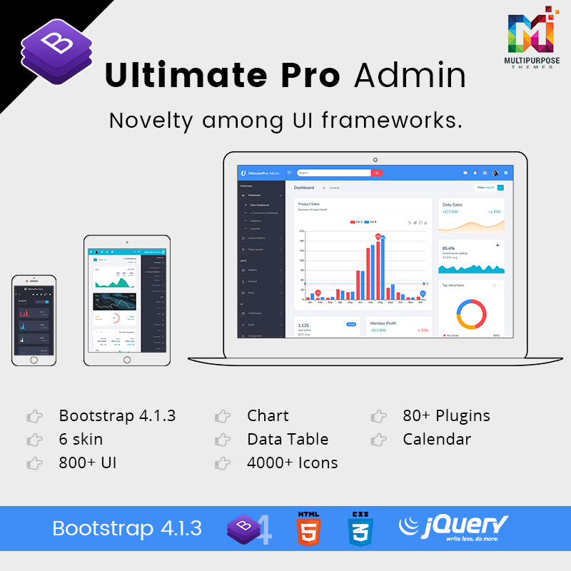 UltimatePro Admin – Bootstrap 4 Admin Dashboard Templates And WebApps Templates