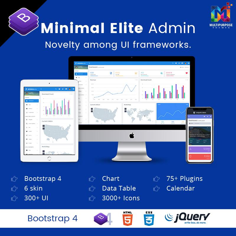 Minimal Elite Bootstrap 4 Admin Dashboard With Admin Templates