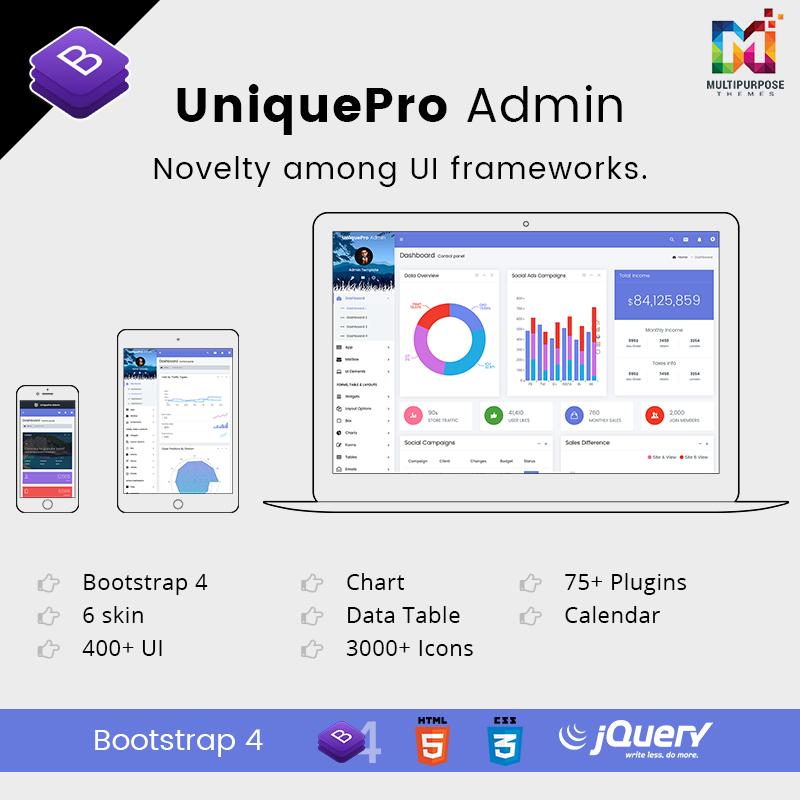 UniquePro Bootstrap 4 Admin Templates & Admin Dashboard