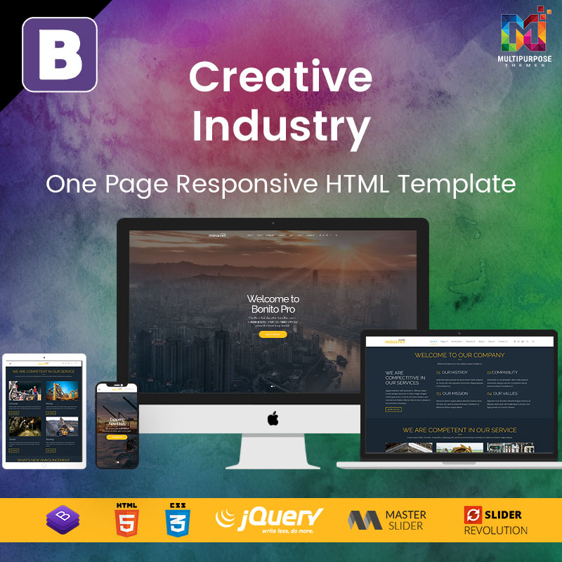 Creative Industry – One Page Responsive HTML Template