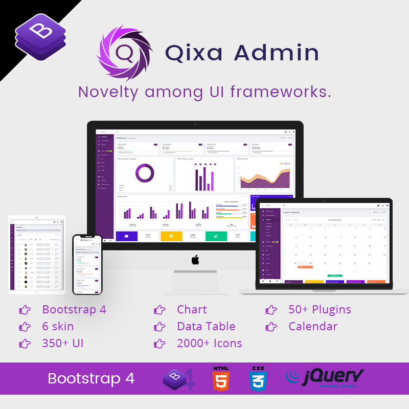 Qixa – Responsive Bootstrap 4 Admin Templates