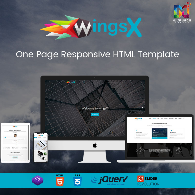 WingsX – One Page HTML Template