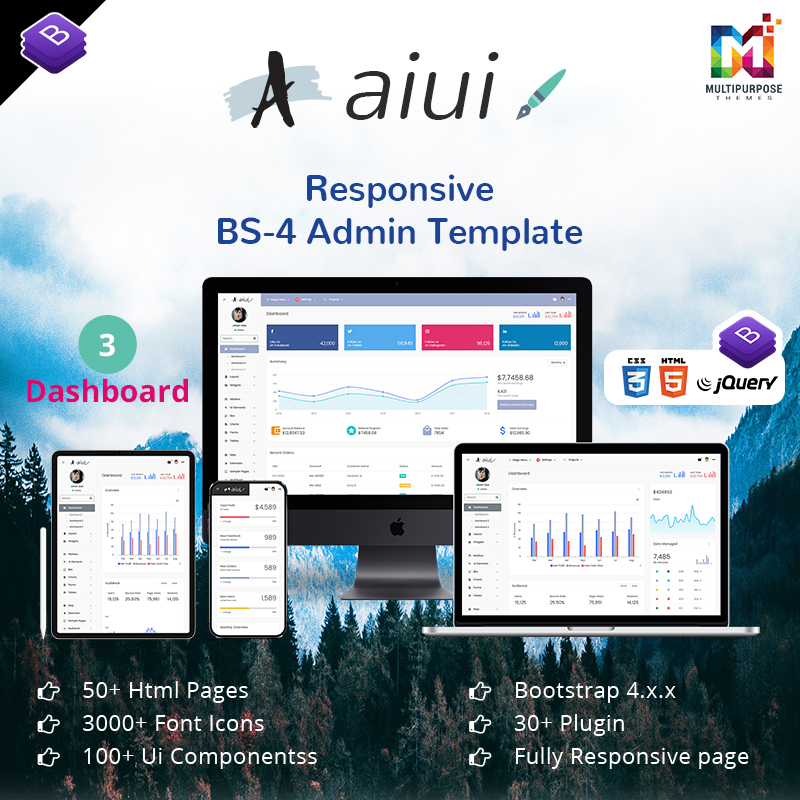 AIUI – Bootstrap Admin Dashboard With Bootstrap Admin Web App