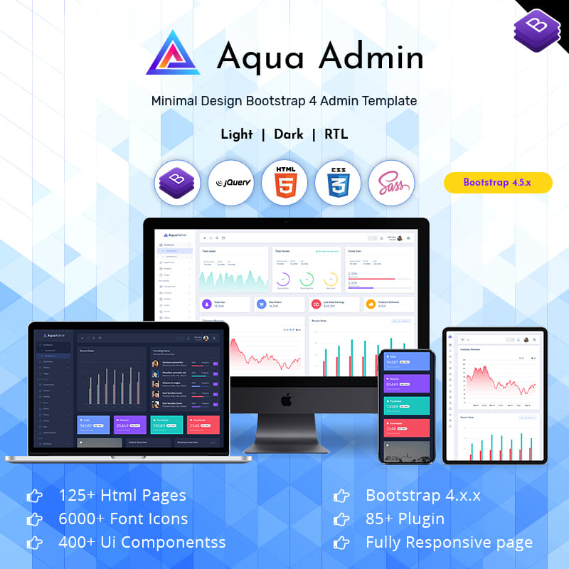 Aqua Responsive Admin Template Dashboard Web Apps