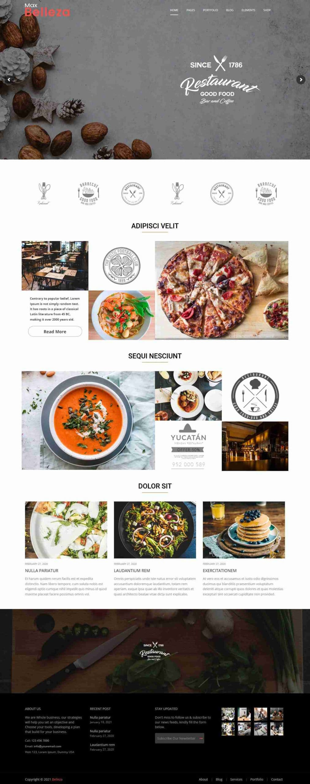 Restaurant food WordPress