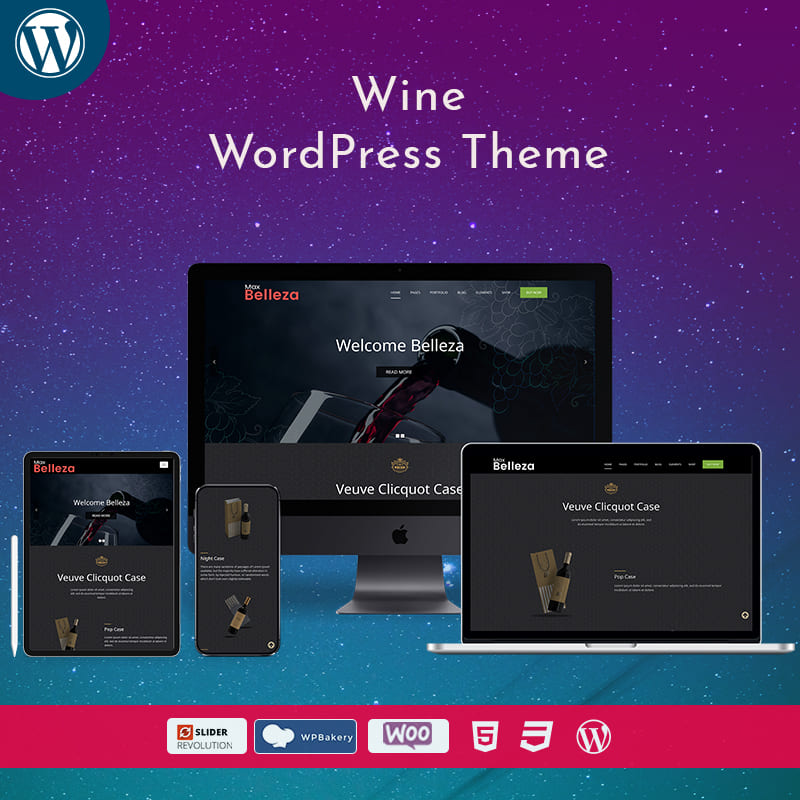Wine Shop Business WordPress Theme – Belleza