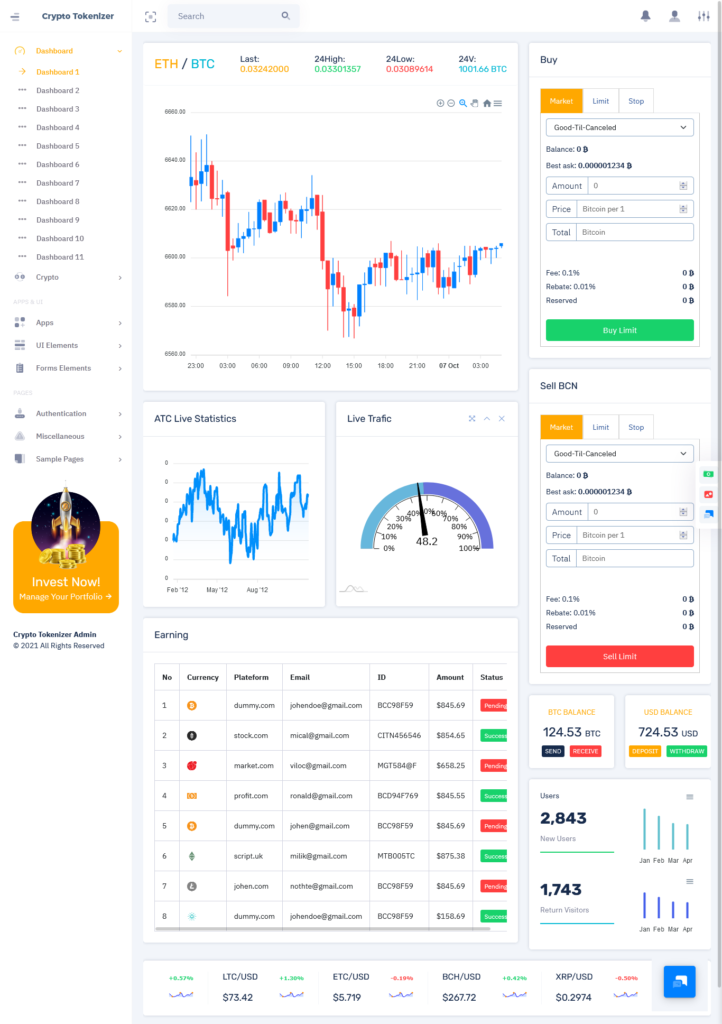 Cryptio Tokenizer Crypto Currency Admin Template