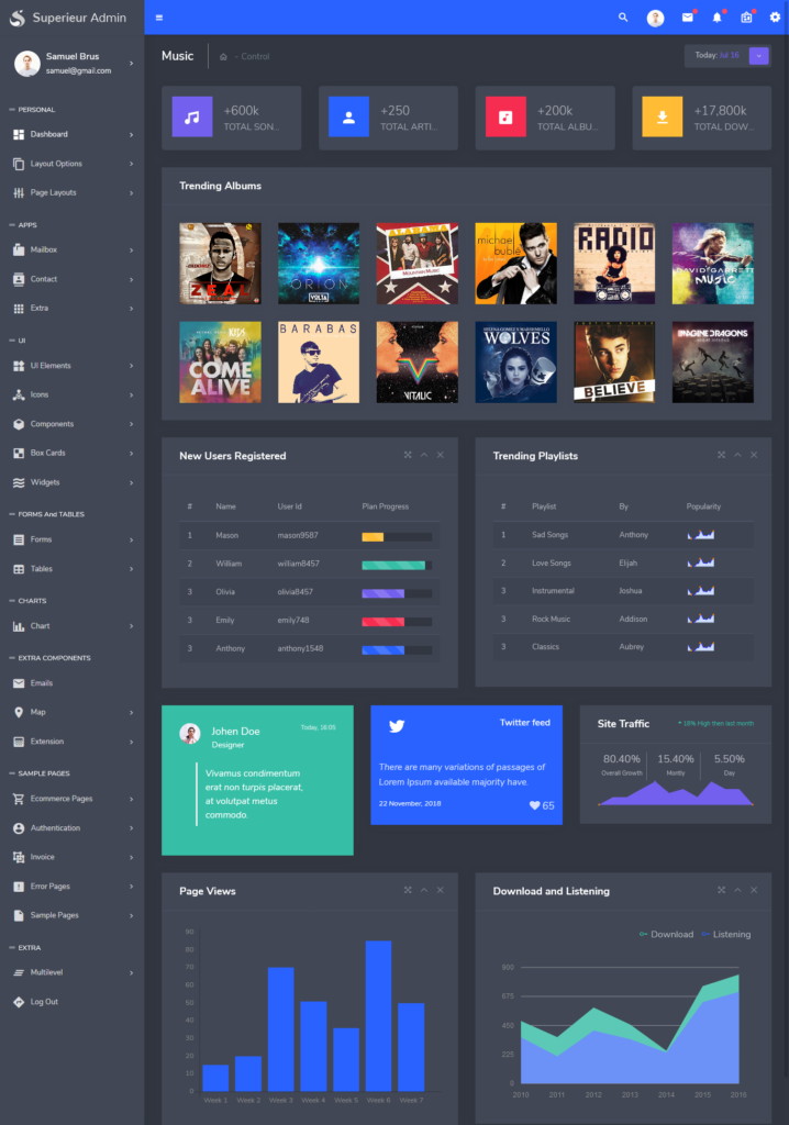 Superieur - Responsive Bootstrap 4 Admin Template Dashboard Web App