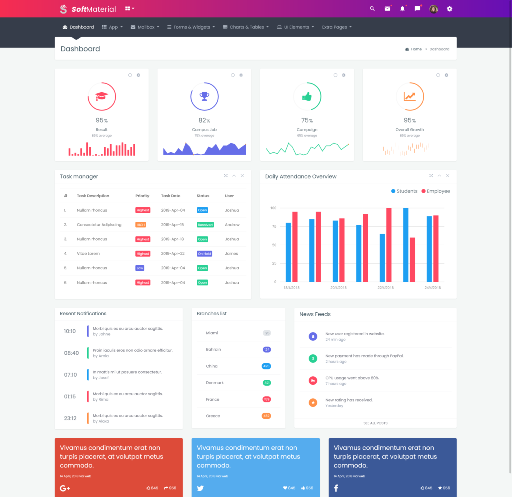 Soft Material – Bootstrap Admin Templates Web Apps & UI Kit Dashboards