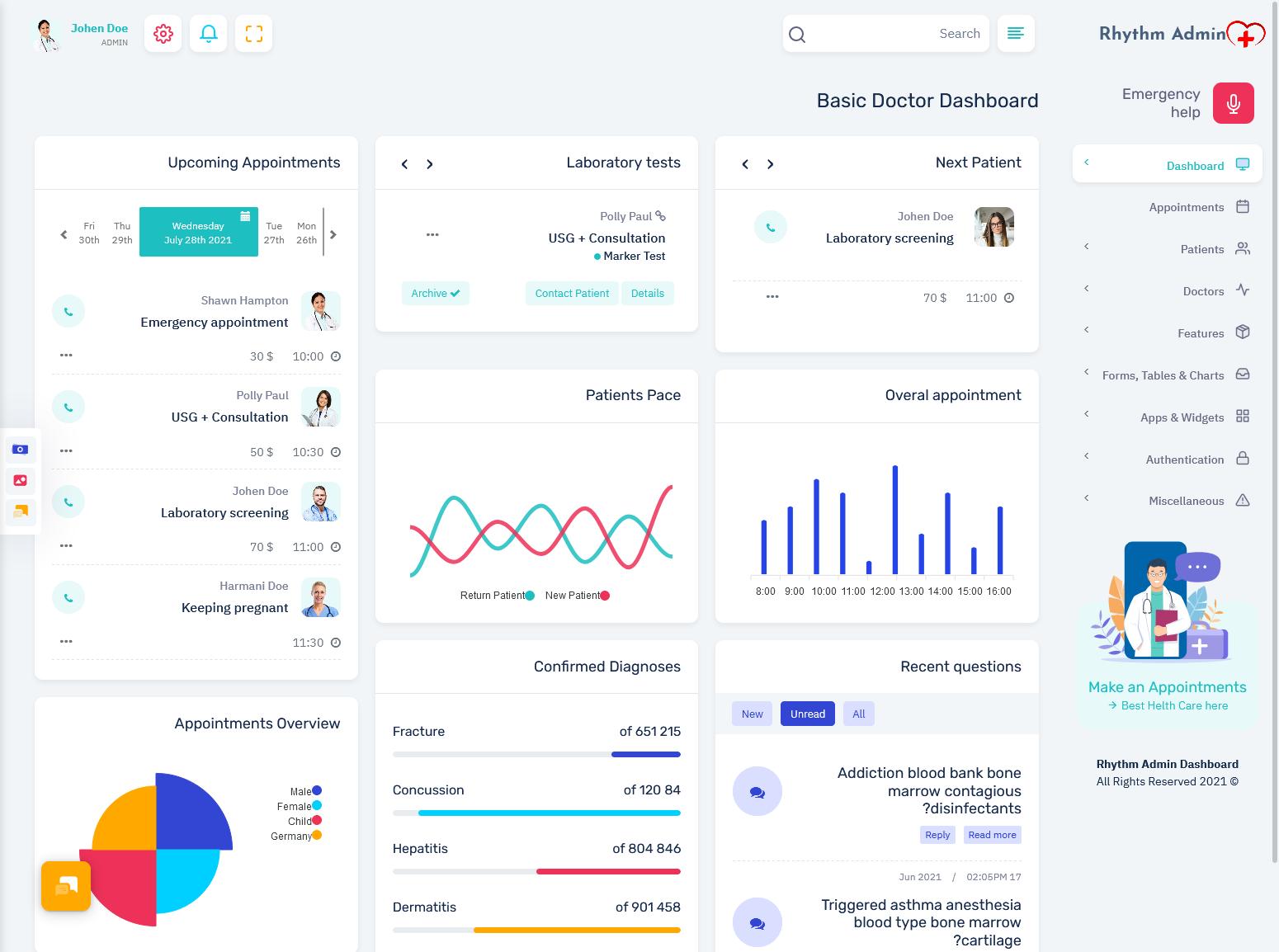 Rhythm - Medical Responsive Bootstrap 5 Admin Template Dashboard
