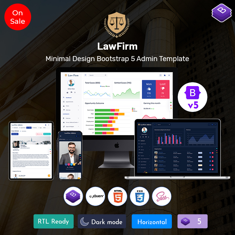 Lawfirm Responsive Bootstrap Admin Template
