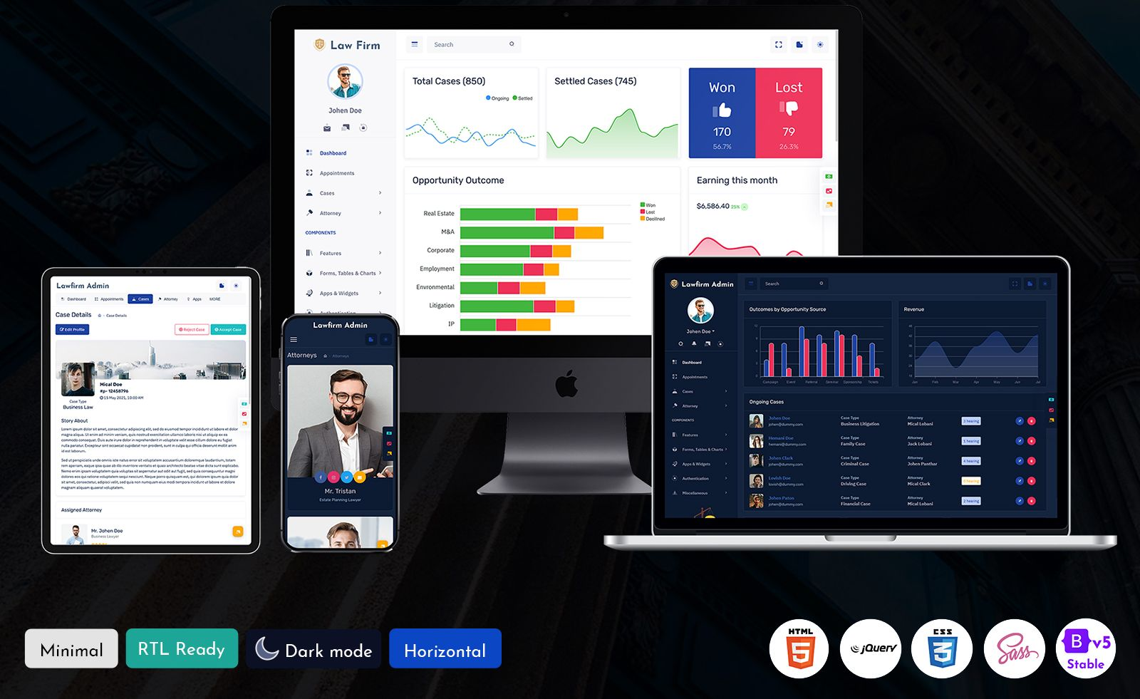 Lawfirm Bootstrap Admin Template