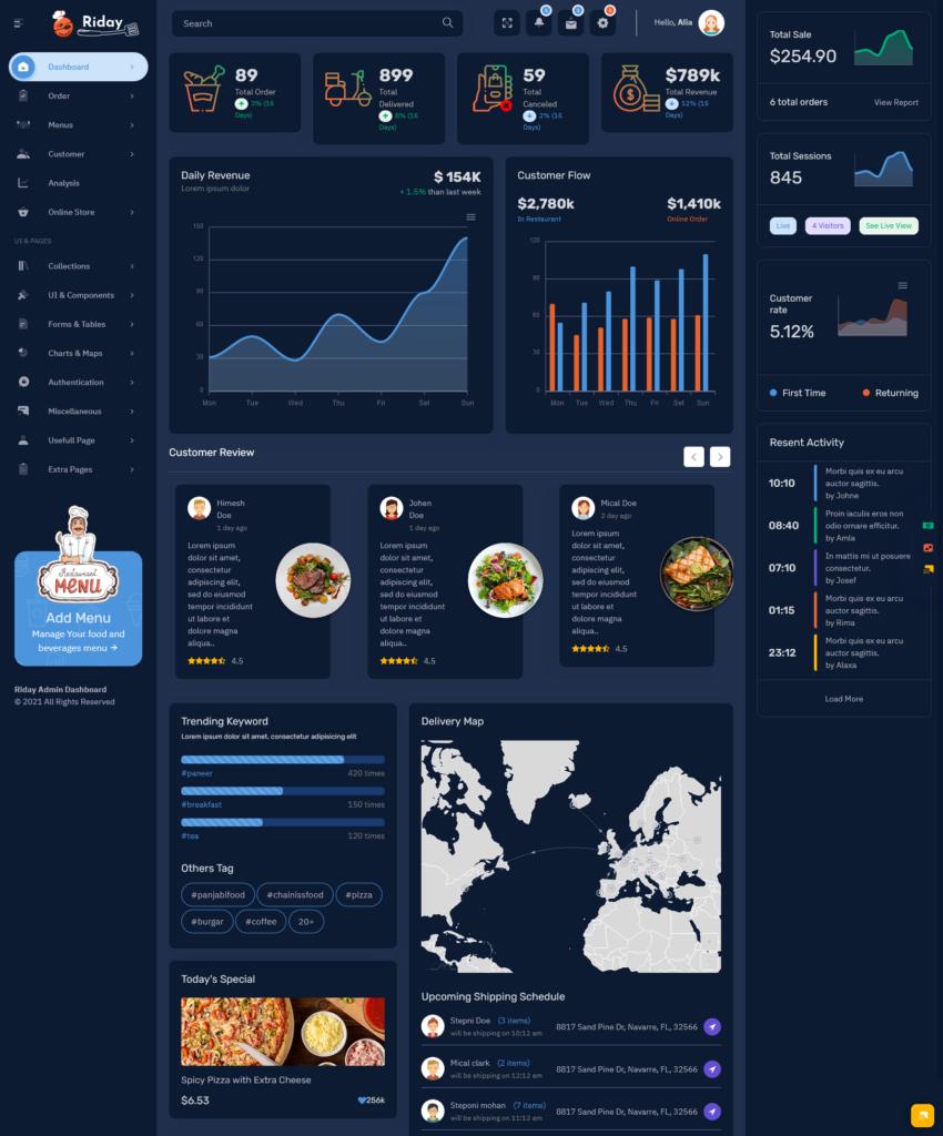 Riday - Restaurant Bootstrap 5 Admin Template Webapp