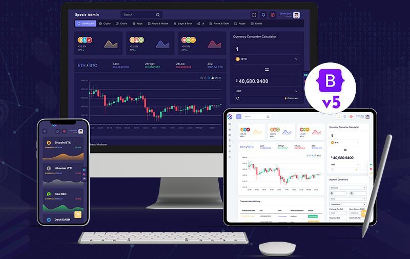 Cryptocurrency Admin Dashboard Template