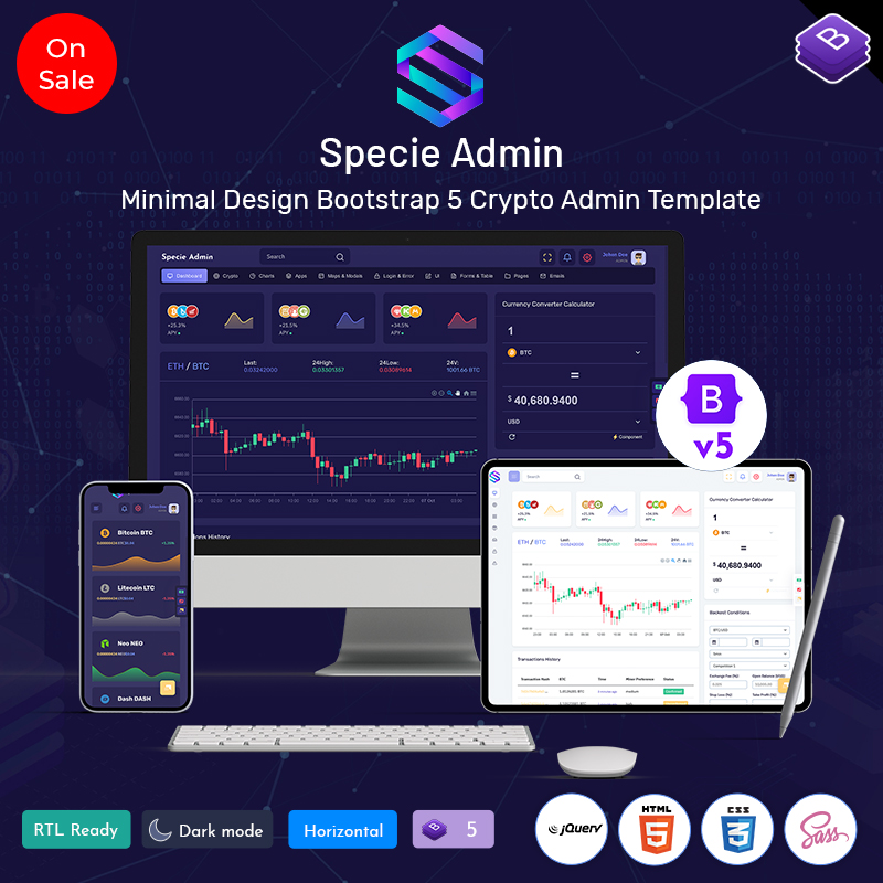 Specie – Cryptocurrency Admin Dashboard Template