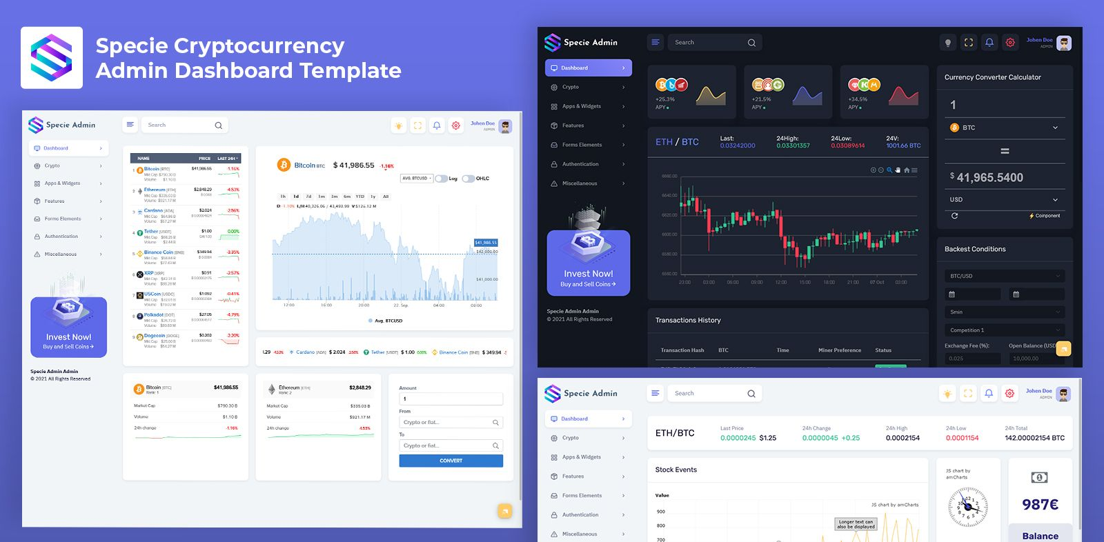 Cryptocurrency Admin Dashboard Templates